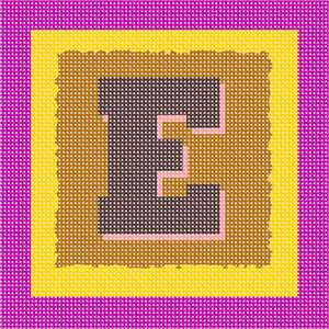 The letter E, against a bright colored background of nested squares with roughened edges.
