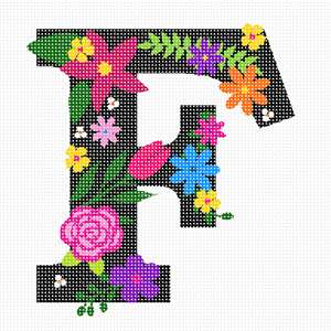 The capital letter F sprouting bold and bright colorful flowers.