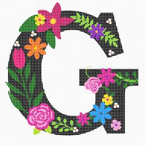 The capital letter G sprouting bold and bright colorful flowers.