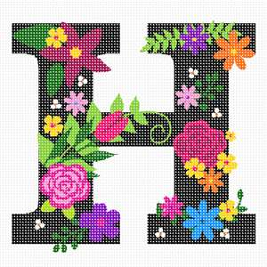 The capital letter H sprouting bold and bright colorful flowers.