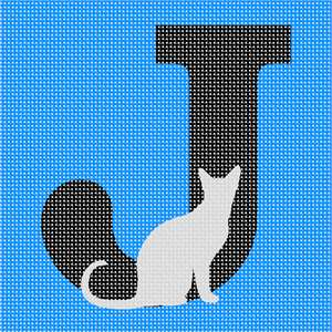 Capital letter J serves as a backdrop for a grey cat. A cat's meow is used to communicate with humans, not other cats.  Cats have more bones in their bodies than humans. Cats don't have a sweet tooth.  Every cat's nosepad is unique – like a fingerprint.  Cans can become addicted to tuna (no, not chocolate!).  Cats groom themselves for over a third of the time they are awake.