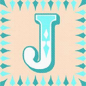 The letter J in a fancy font, surrounded by a matching border of elongated diamonds.