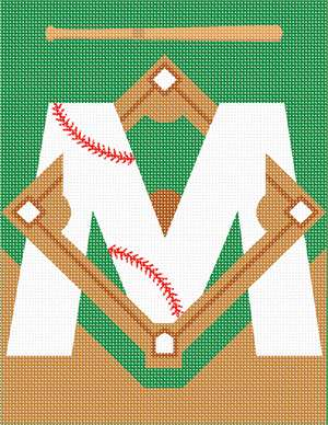 Letter M designed with a baseball theme.