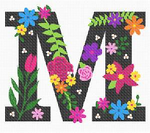 The capital letter M sprouting bold and bright colorful flowers.