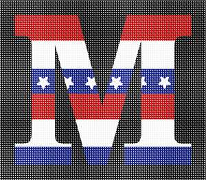 Letter M in dressed in stars and stripes.