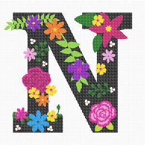 The capital letter N sprouting bold and bright colorful flowers.