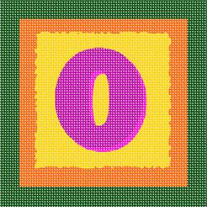 The letter O in purple, drop-shadowed against yellow and orange.