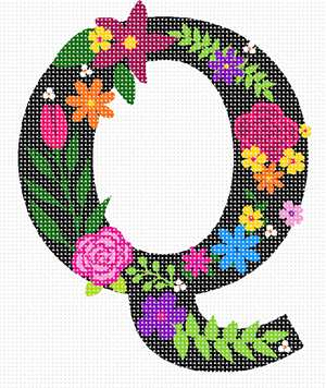 The capital letter Q sprouting bold and bright colorful flowers.