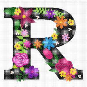 The capital letter R sprouting bold and bright colorful flowers.