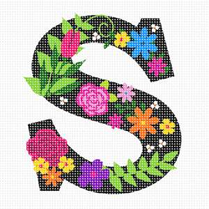 The capital letter S sprouting bold and bright colorful flowers.