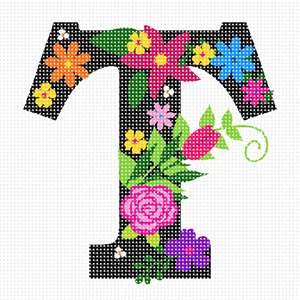 The capital letter T sprouting bold and bright colorful flowers.
