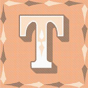The letter T in a fancy font, surrounded by a diamond element.