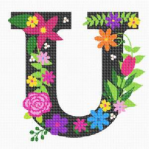 The capital letter U sprouting bold and bright colorful flowers.