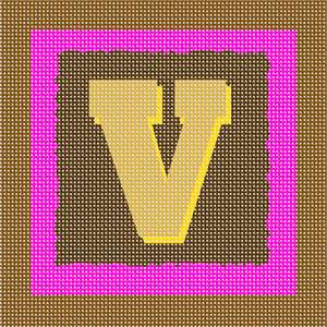 The block capital letter V against a study in browns and teal.