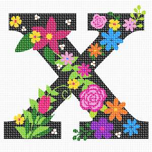 The capital letter X sprouting bold and bright colorful flowers.