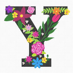 The capital letter Y sprouting bold and bright colorful flowers.