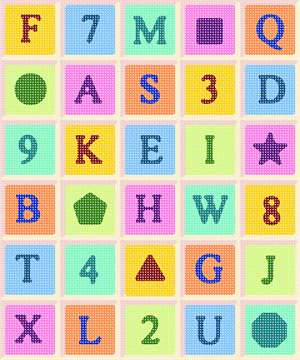 Letters numbers and shaped arranged in bright colors in a rectangular grid.