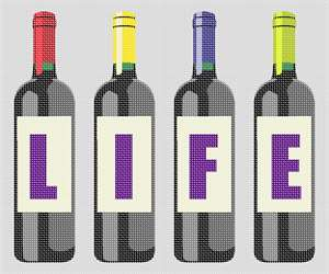 Celebrate Life with this wine bottle themed needlepoint