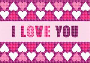 "Whimsical ""I love you"" in needlepoint"