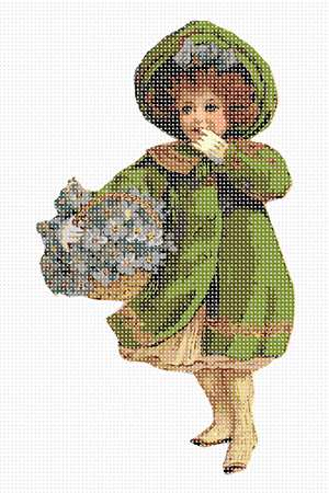 Mary dressed snugly in a warm green coat raises a gloved hand to her mouth in surprise. Flowers and floral design are among the most popular needlepoint designs. People have been stitching flowers and floral motifs for hundreds of years.  Flowers are bright and pleasant, and most have underlying meanings to them.