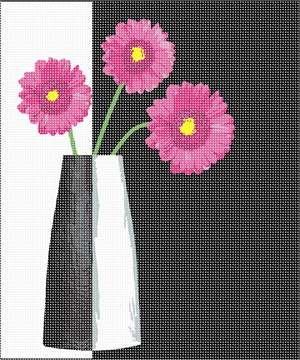 Modern contrasting black and white design with pink flowers.