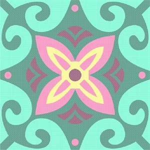 Bright swirls of mint with floral center