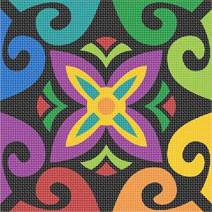 Full of color and fun, this floral motif pattern works anywhere
