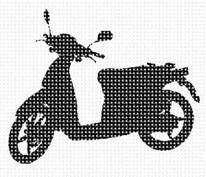A motorcycle in needlepoint.