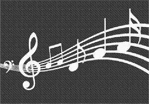 Music notes in needlepoint