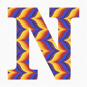 "Alphabet in Bargello. Bargello is a type of needlepoint embroidery consisting of upright flat stitches laid in a mathematical pattern to create motifs. The name originates from a series of chairs found in the Bargello palace in Florence, which have a ""flame stitch"" pattern.