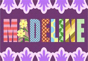 Name decorated with a variety of colorful patterns against a purple background.