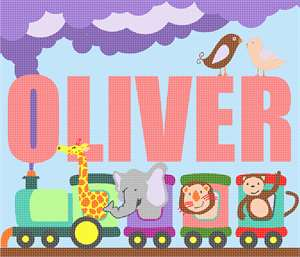 Name in bold, surrounded by a cute train with various animal passengers peeking from the windows.