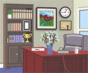 Perfect for your cubicle wall - a needlepoint of the executive window office.