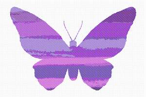 A variegated butterfly in shades of violet and purple