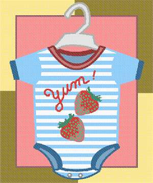 Cute boy's onesie outfit, strawberries on a striped background.