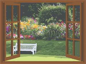 Looking out at the garden bedecked in sunlight and a blossoming flowerbed.  Relax on the garden bench.