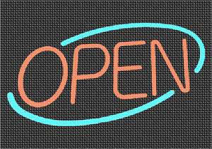 Classic Open for business sign