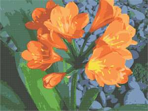 A bright burst of floral orange against green leaves.