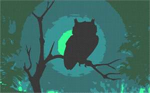Owl silhouette perched on a branch, gazing silently at the moonlit forest floor.