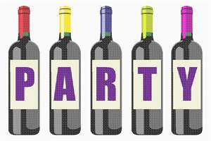 Party with this wine bottle themed needlepoint