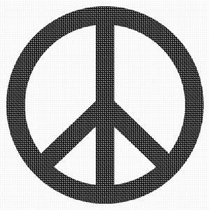 Peace symbol in black and white