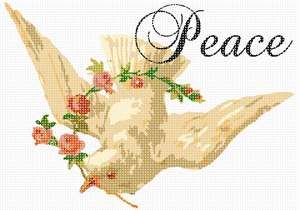 For peaceful homes. Peace is something that the world  needs more of each day. This needlepoint is of a dove which is a symbol of peace. This is from a vintage illustration.