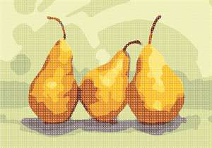 Three yellow pears side by side.