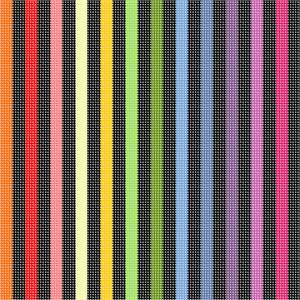 Straight vertical bars, alternating black and bright colors spanning the full color wheel.