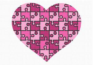 "A heart puzzle in shades of pink. No one knows why the heart is associated with love.  A human heart weighs between 7 and 15 ounces. Our heart beats around 100,000 times a day.  Laughing is good for your heart. A ""broken heart"" can feel like a heart attack."