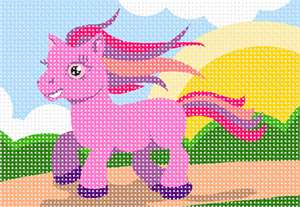 Pink pony skipping merrily down a wee mountain path, her colorful mane and tail flowing in the breeze.