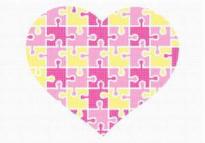 "A heart puzzle in shades of yellow and pinks. This design is the inspiration of Deb Berman who is stitching it for her granddaughter. No one knows why the heart is associated with love. A human heart weighs between 7 and 15 ounces. Our heart beats around 100,000 times a day. Laughing is good for your heart. A ""broken heart"" can feel like a heart attack."