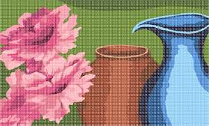 Flowers with a pottery pot and pitcher. Pottery is made by forming a clay body into objects of a required shape and heating them to high temperatures in a kiln which removes all the water from the clay , which induces reactions that lead to permanent changes including increasing their strength and hardening and setting their shape.