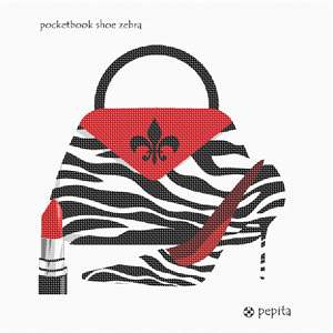 A needlepoint delight for a lady's night out.  Stitch a lipstick and coordinating zebra themed purse and high heel shoe.