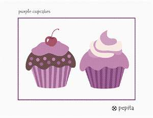 A pair of tempting purple pastries, complete with pretty toppings.